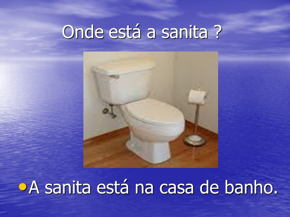 Onde está a sanita A sanita está na casa de banho.