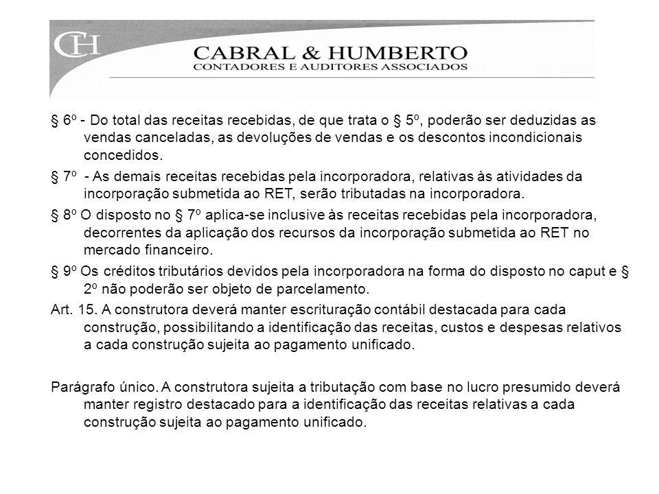 § 6º - Do total das receitas recebidas, de que trata o § 5º, poderão ser deduzidas as vendas canceladas, as devoluções de vendas e os descontos incondicionais concedidos.