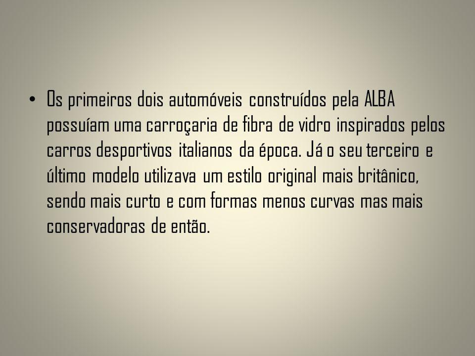 Os primeiros dois automóveis construídos pela ALBA possuíam uma carroçaria de fibra de vidro inspirados pelos carros desportivos italianos da época.
