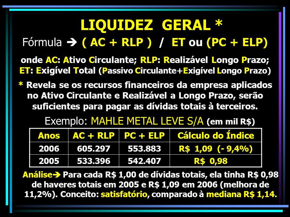LIQUIDEZ GERAL * Fórmula  ( AC + RLP ) / ET ou (PC + ELP)