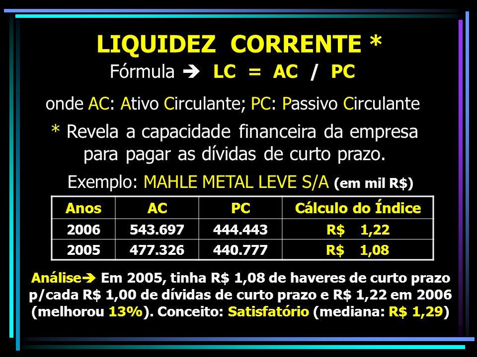 LIQUIDEZ CORRENTE * Fórmula  LC = AC / PC