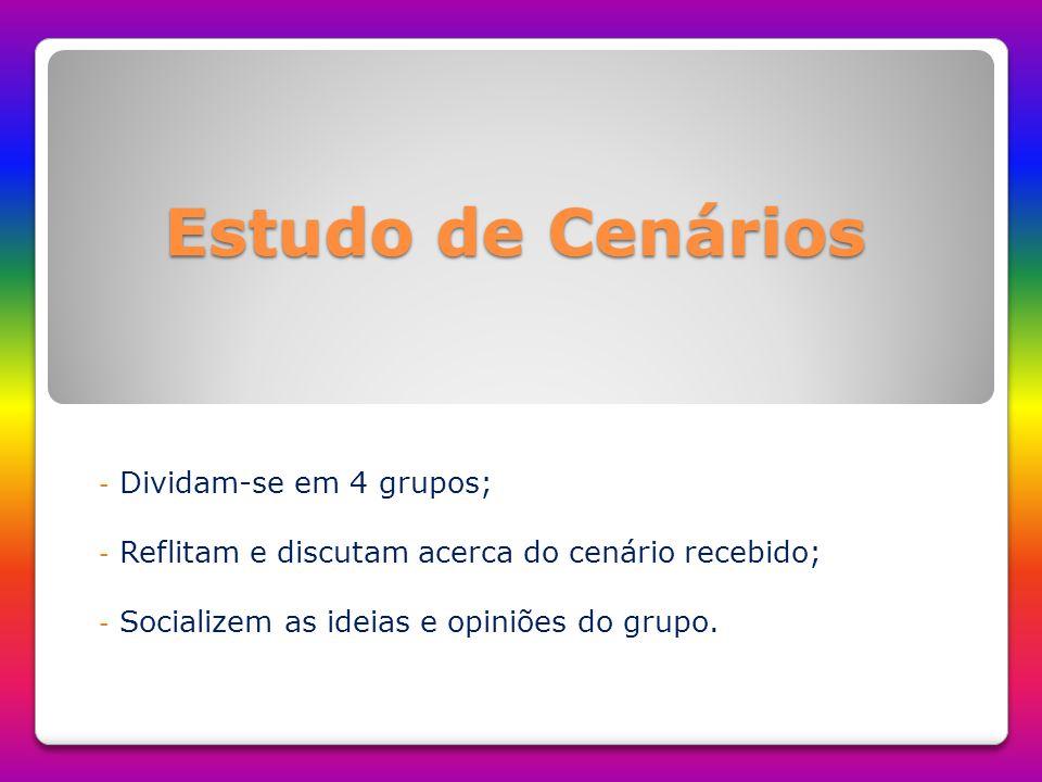 Estudo de Cenários Dividam-se em 4 grupos;