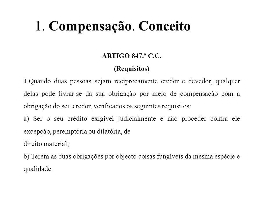 1. Compensação. Conceito ARTIGO 847.º C.C. (Requisitos)