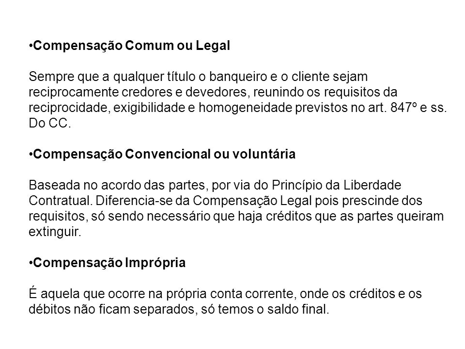 Compensação Comum ou Legal