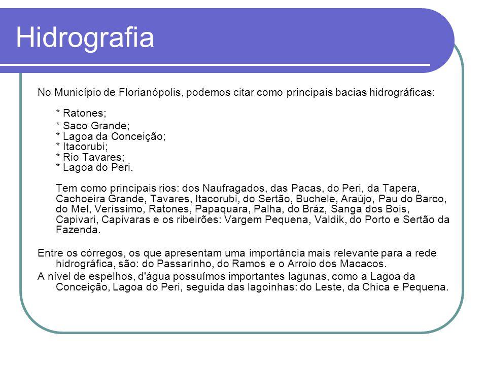 Hidrografia No Município de Florianópolis, podemos citar como principais bacias hidrográficas: * Ratones;