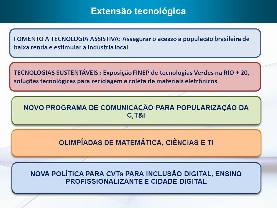 Extensão tecnológica FOMENTO A TECNOLOGIA ASSISTIVA: assegurar o acesso a população brasileira de baixa renda e estimular a indústria local.