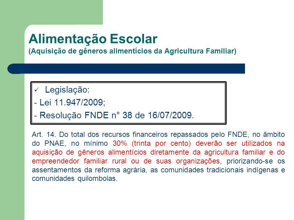 Alimentação Escolar (Aquisição de gêneros alimentícios da Agricultura Familiar)