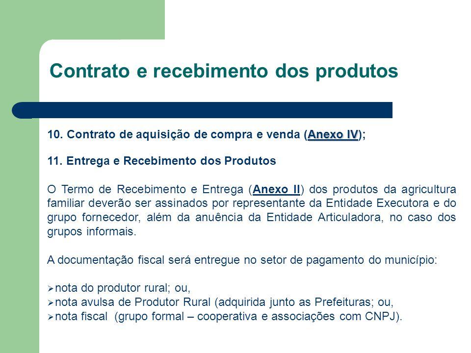 Contrato e recebimento dos produtos