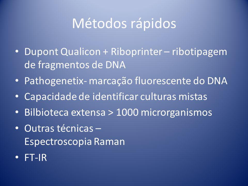 Métodos rápidos Dupont Qualicon + Riboprinter – ribotipagem de fragmentos de DNA. Pathogenetix- marcação fluorescente do DNA.