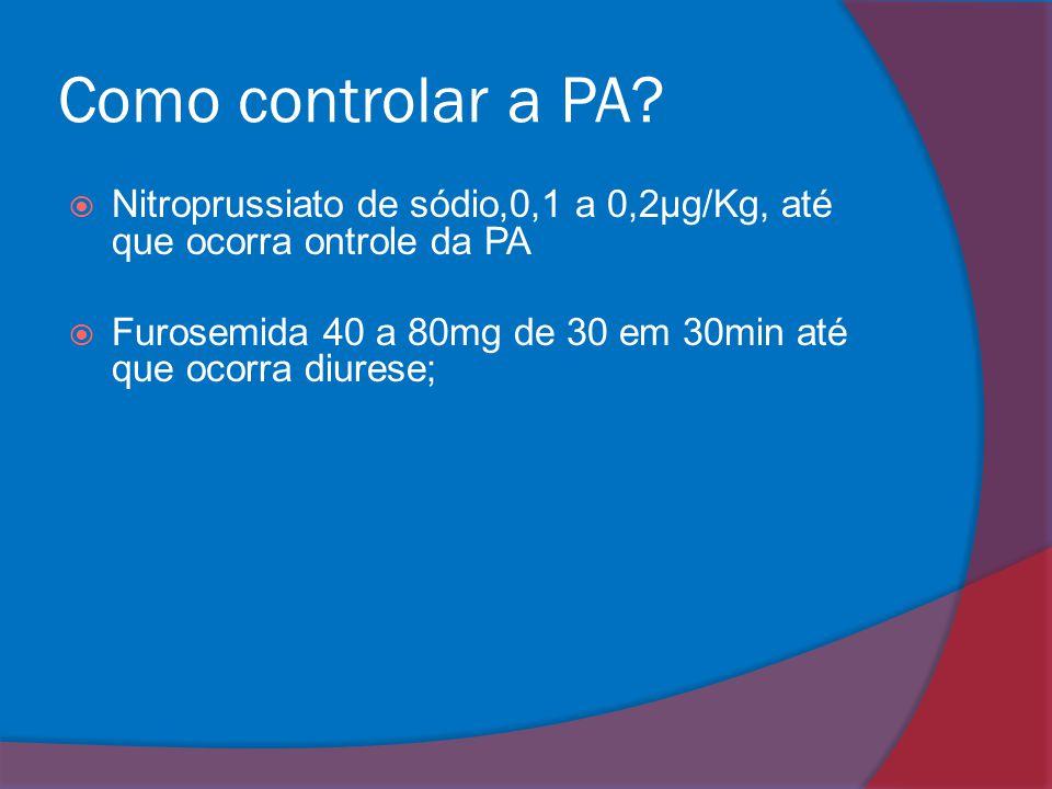 Como controlar a PA Nitroprussiato de sódio,0,1 a 0,2μg/Kg, até que ocorra ontrole da PA.