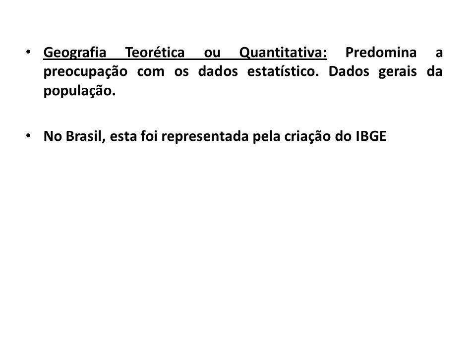 Geografia Teorética ou Quantitativa: Predomina a preocupação com os dados estatístico. Dados gerais da população.