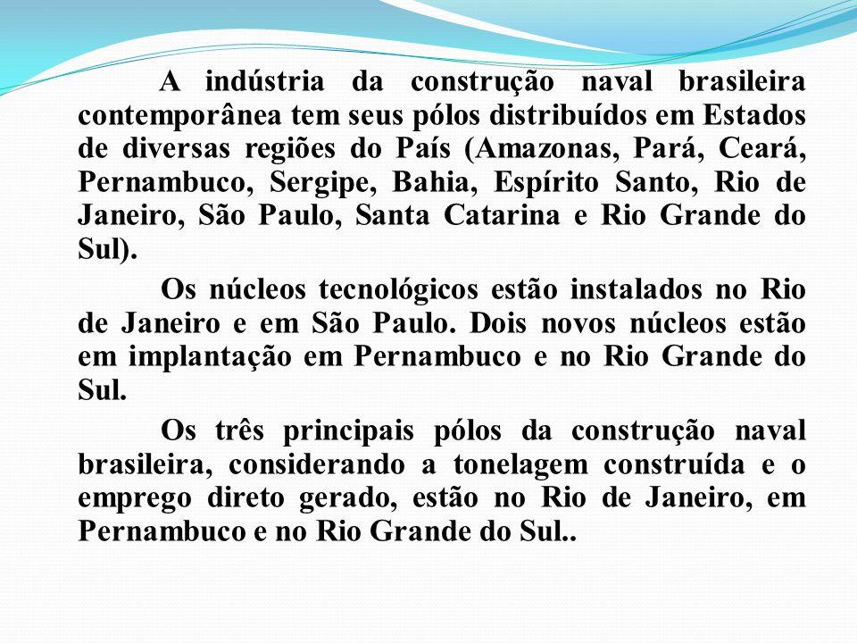 A indústria da construção naval brasileira contemporânea tem seus pólos distribuídos em Estados de diversas regiões do País (Amazonas, Pará, Ceará, Pernambuco, Sergipe, Bahia, Espírito Santo, Rio de Janeiro, São Paulo, Santa Catarina e Rio Grande do Sul).