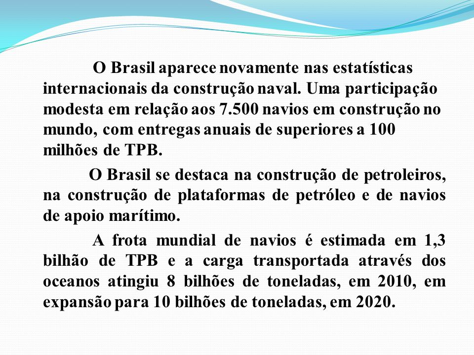 O Brasil aparece novamente nas estatísticas internacionais da construção naval.
