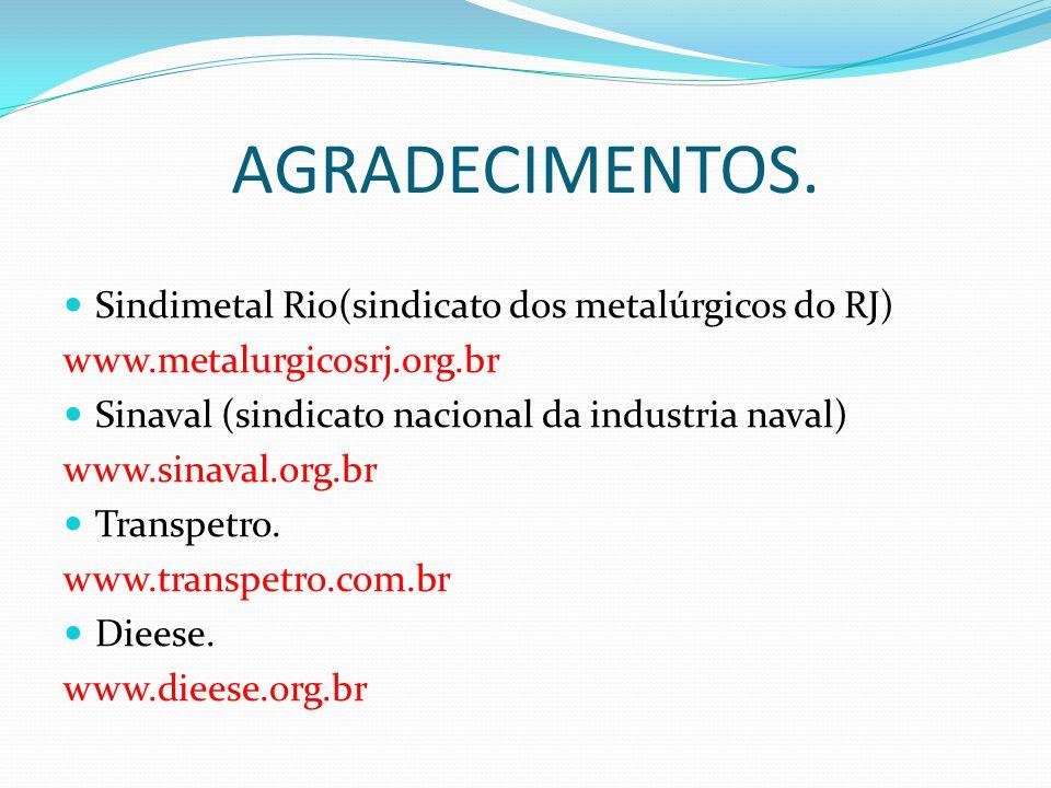 AGRADECIMENTOS. Sindimetal Rio(sindicato dos metalúrgicos do RJ)