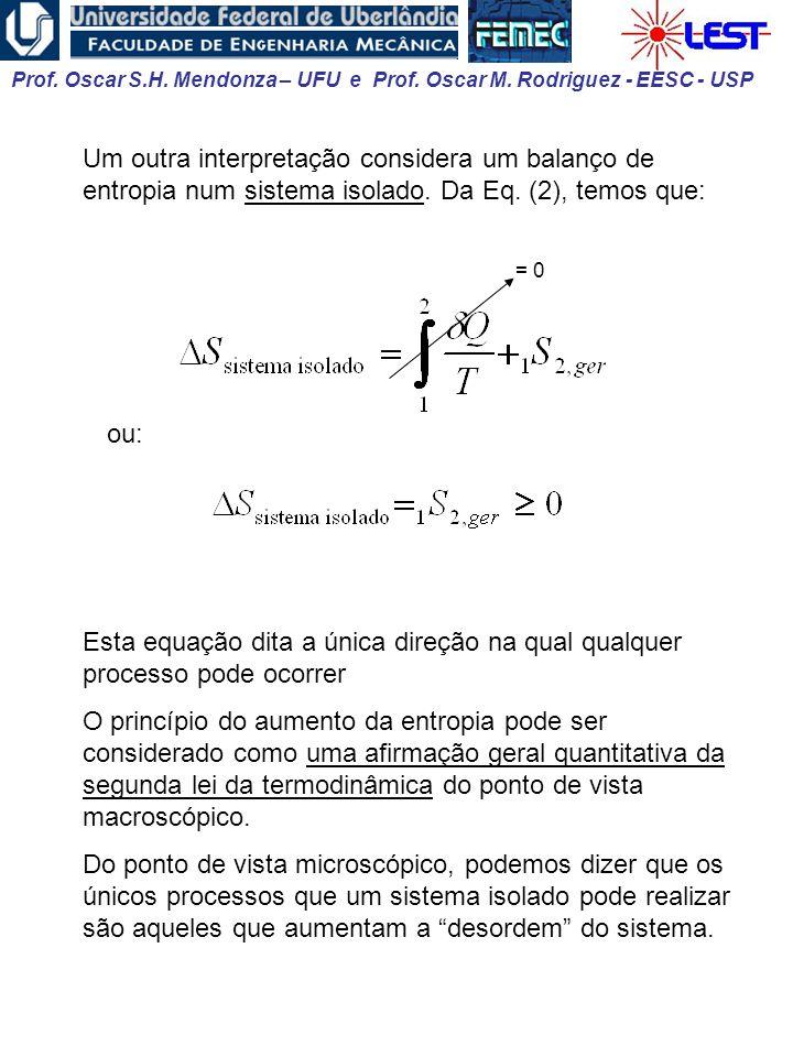 Um outra interpretação considera um balanço de entropia num sistema isolado. Da Eq. (2), temos que: