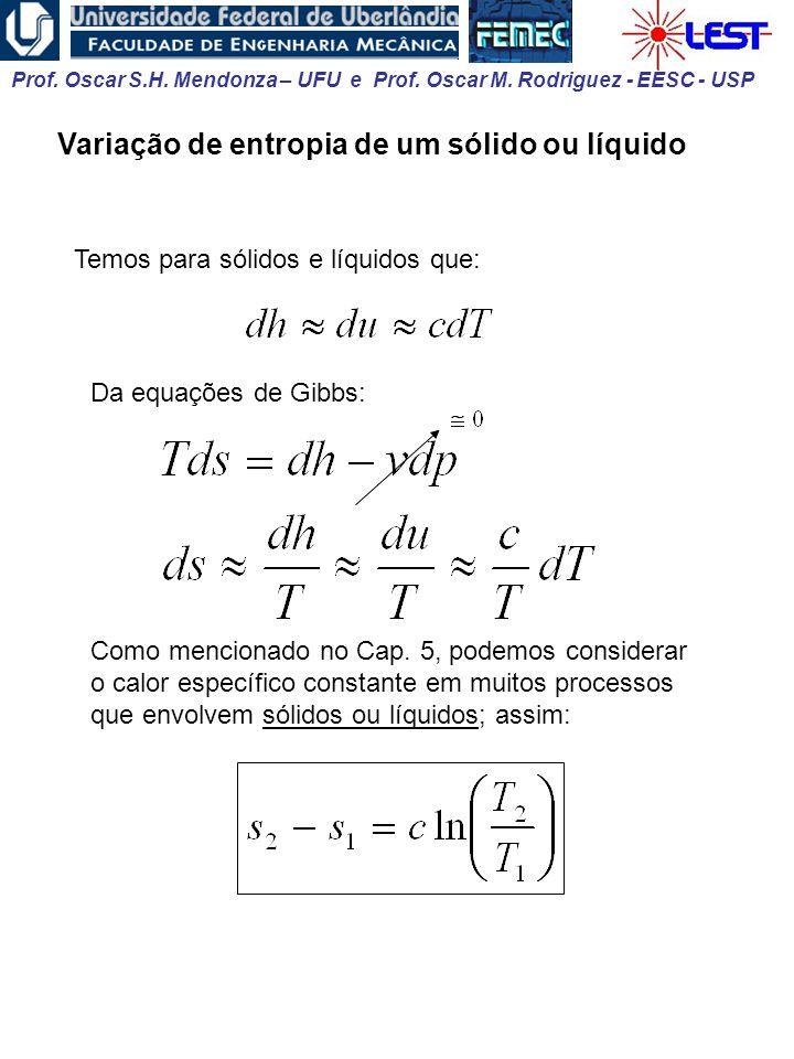 Variação de entropia de um sólido ou líquido