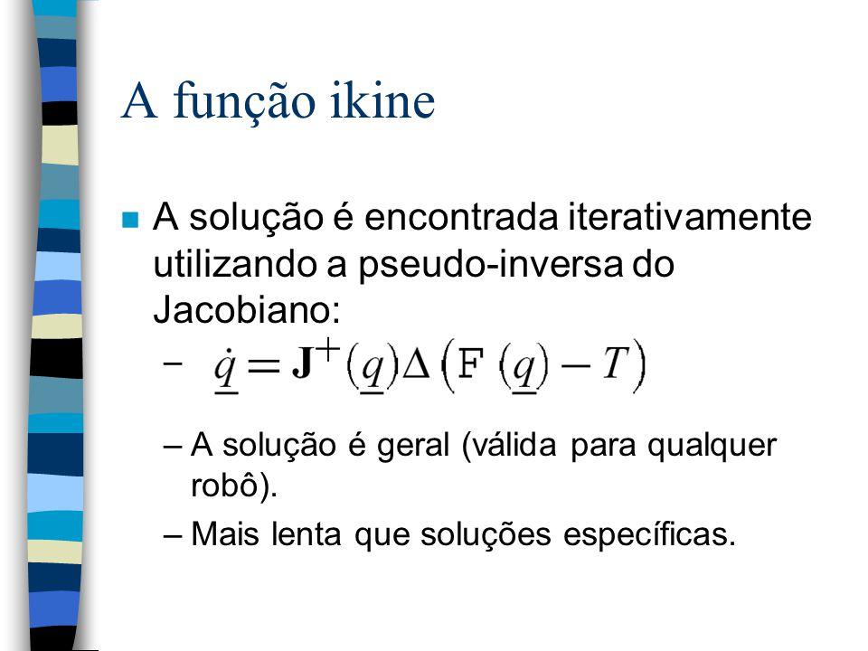 A função ikine A solução é encontrada iterativamente utilizando a pseudo-inversa do Jacobiano: A solução é geral (válida para qualquer robô).
