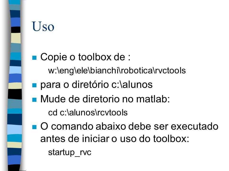 Uso Copie o toolbox de : para o diretório c:\alunos