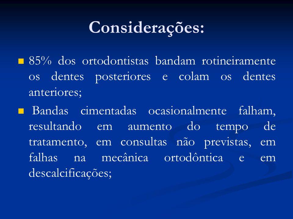 Considerações: 85% dos ortodontistas bandam rotineiramente os dentes posteriores e colam os dentes anteriores;