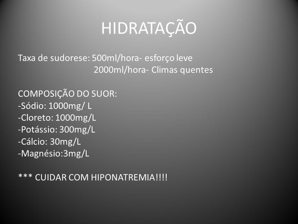 HIDRATAÇÃO Taxa de sudorese: 500ml/hora- esforço leve