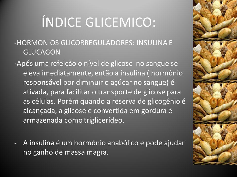 ÍNDICE GLICEMICO: -HORMONIOS GLICORREGULADORES: INSULINA E GLUCAGON