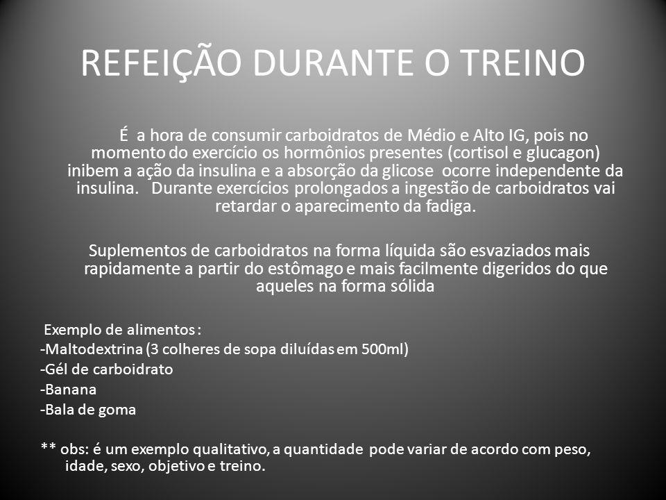 REFEIÇÃO DURANTE O TREINO