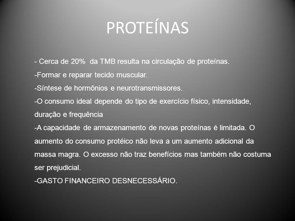 PROTEÍNAS - Cerca de 20% da TMB resulta na circulação de proteínas.