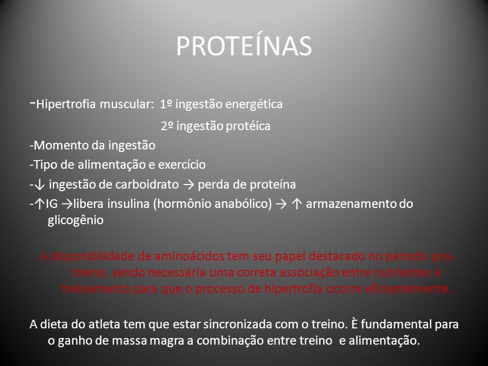 PROTEÍNAS -Hipertrofia muscular: 1º ingestão energética
