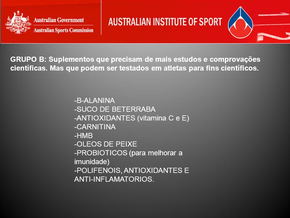 GRUPO B: Suplementos que precisam de mais estudos e comprovações científicas. Mas que podem ser testados em atletas para fins científicos.