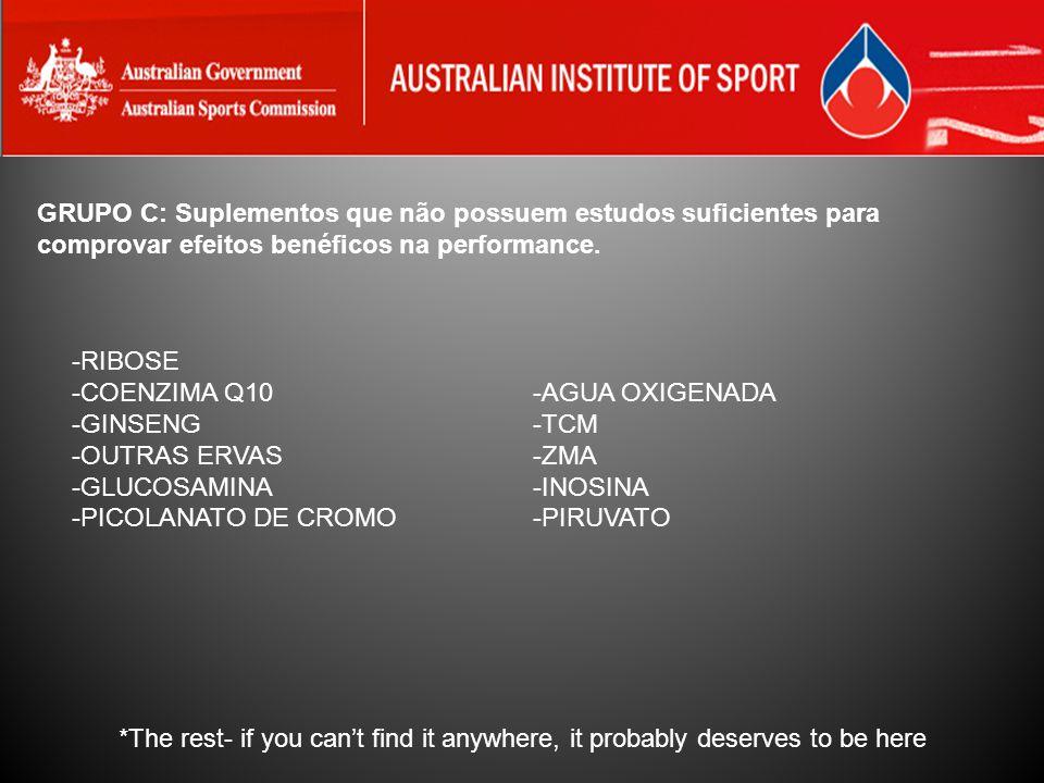 GRUPO C: Suplementos que não possuem estudos suficientes para comprovar efeitos benéficos na performance.