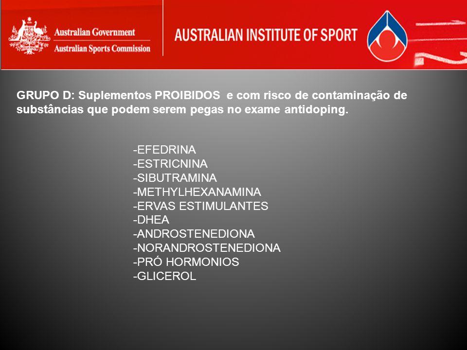 GRUPO D: Suplementos PROIBIDOS e com risco de contaminação de substâncias que podem serem pegas no exame antidoping.