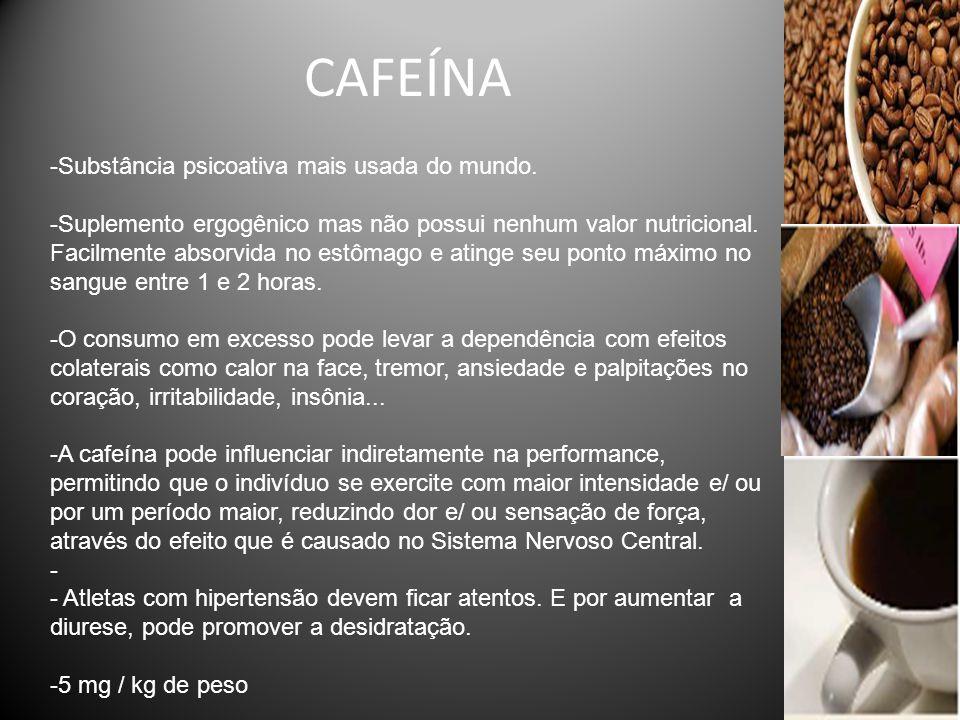 CAFEÍNA Substância psicoativa mais usada do mundo.
