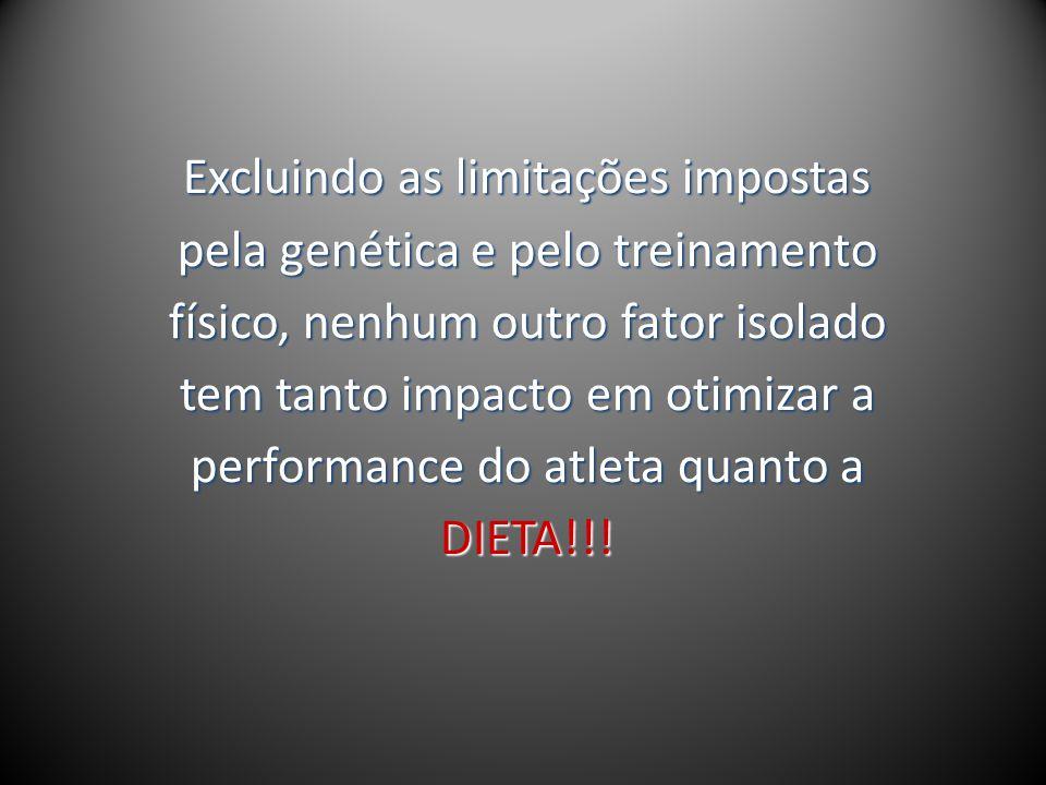 Excluindo as limitações impostas pela genética e pelo treinamento físico, nenhum outro fator isolado tem tanto impacto em otimizar a performance do atleta quanto a DIETA!!!