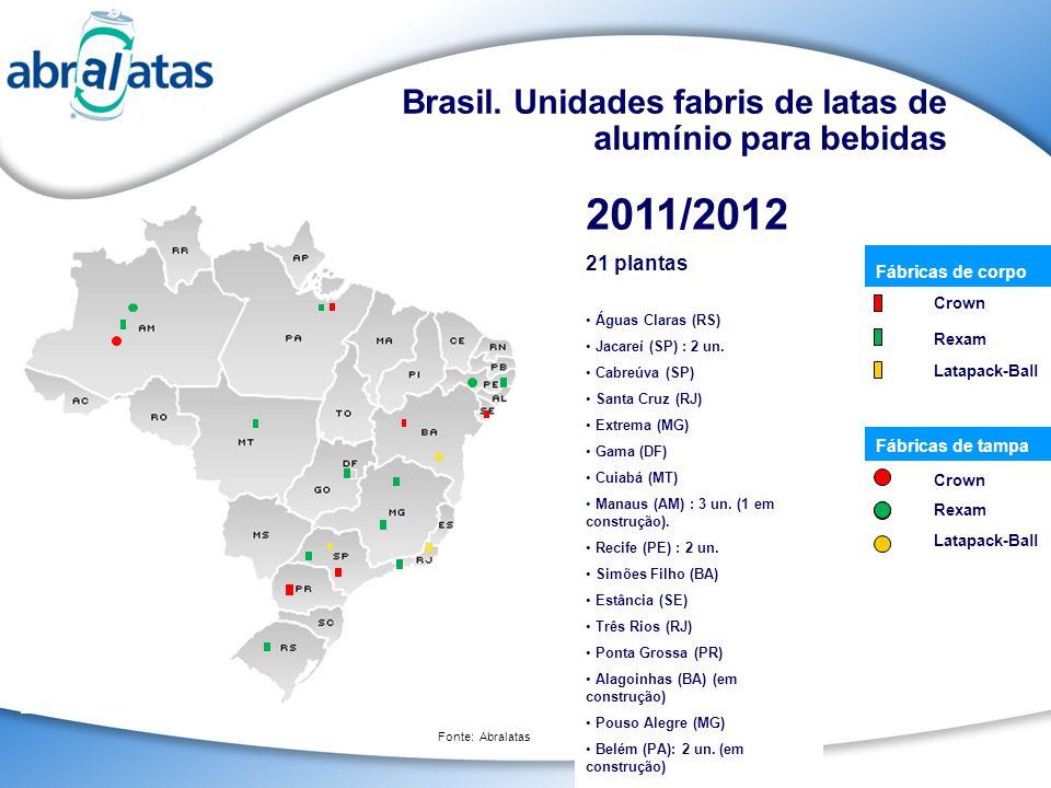 2011/2012 Brasil. Unidades fabris de latas de alumínio para bebidas
