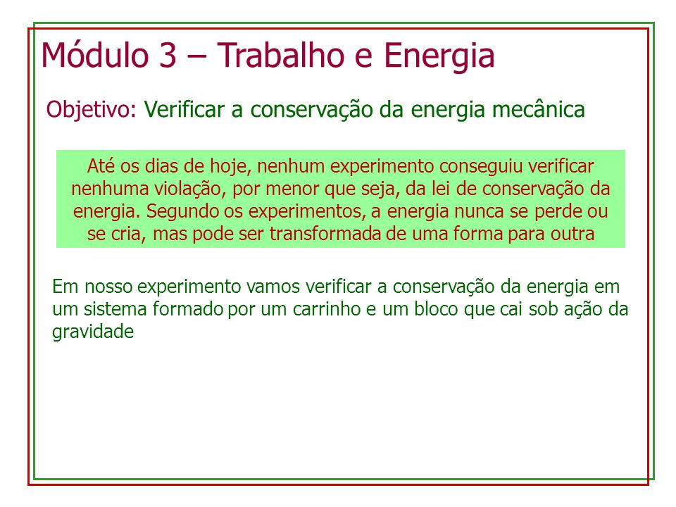 Módulo 3 – Trabalho e Energia