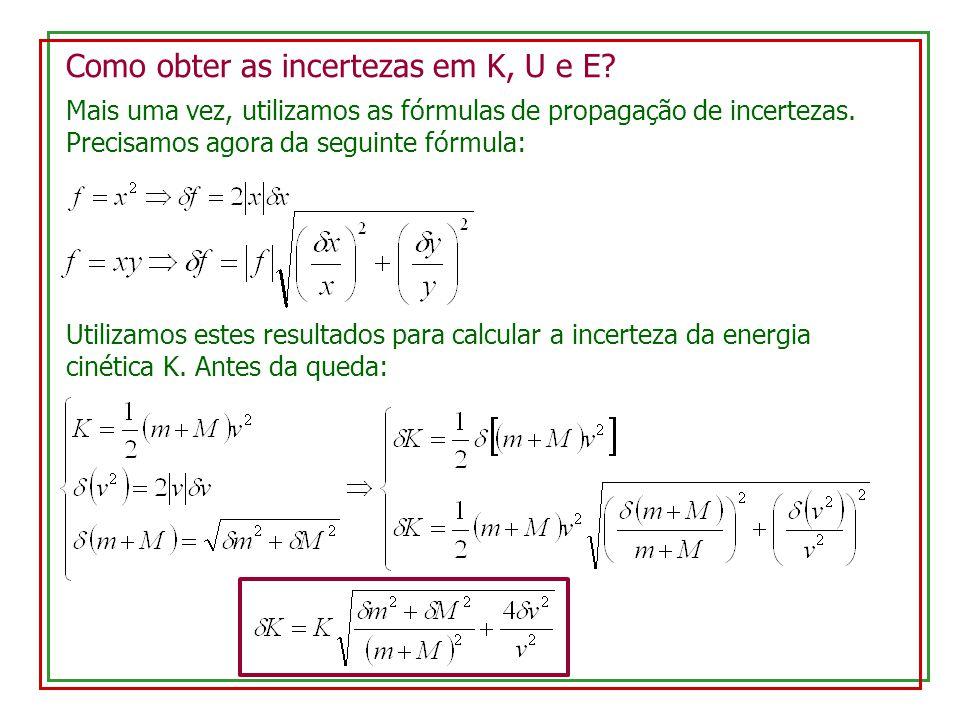 Como obter as incertezas em K, U e E