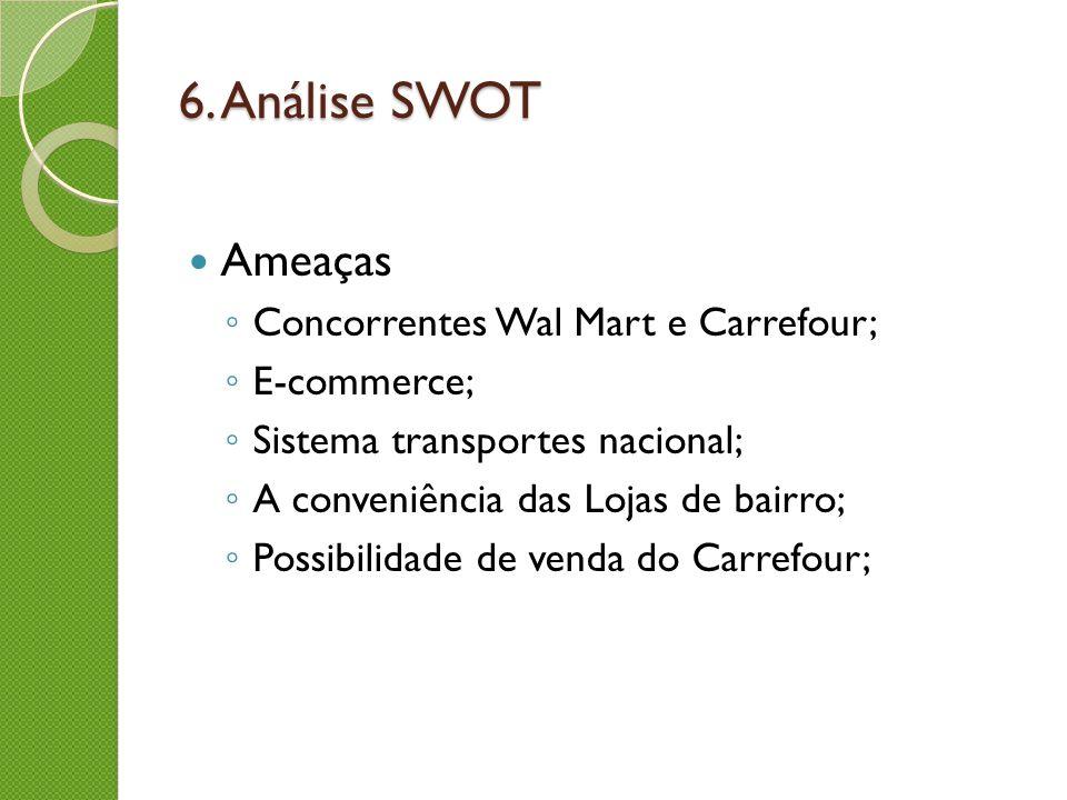 6. Análise SWOT Ameaças Concorrentes Wal Mart e Carrefour; E-commerce;