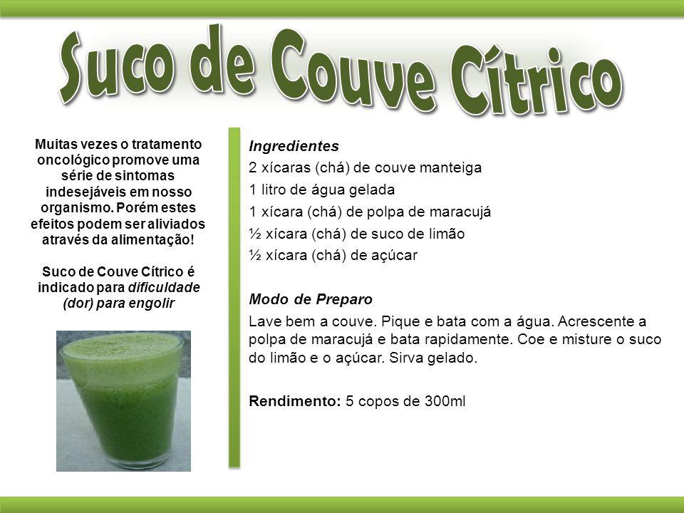 Suco de Couve Cítrico é indicado para dificuldade (dor) para engolir