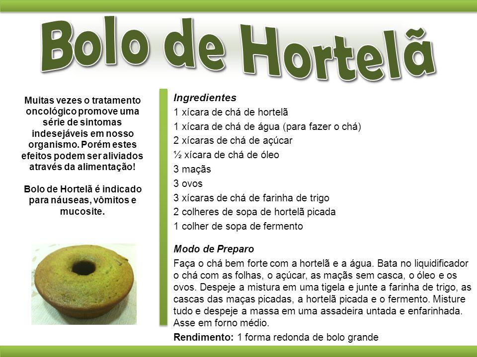 Bolo de Hortelã é indicado para náuseas, vômitos e mucosite.