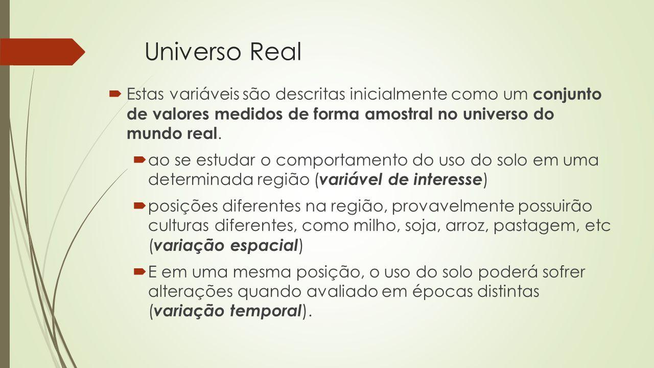 Universo Real Estas variáveis são descritas inicialmente como um conjunto de valores medidos de forma amostral no universo do mundo real.