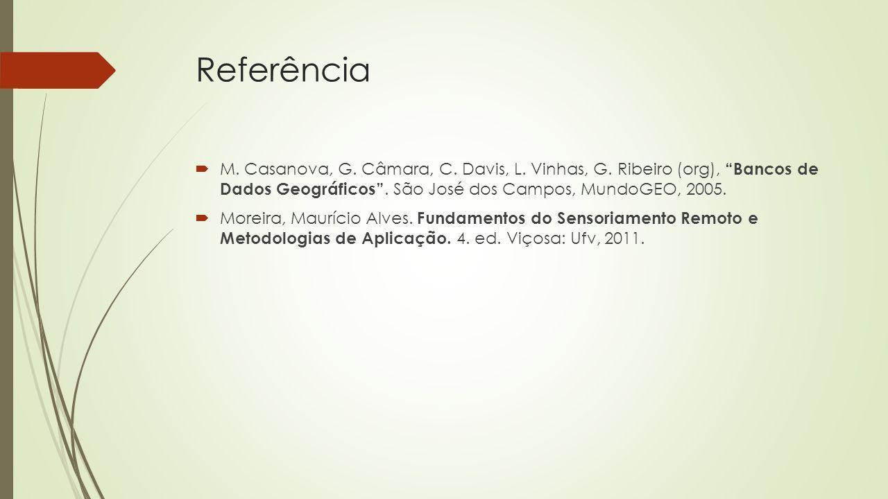 Referência M. Casanova, G. Câmara, C. Davis, L. Vinhas, G. Ribeiro (org), Bancos de Dados Geográficos . São José dos Campos, MundoGEO, 2005.