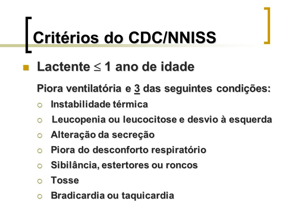 Critérios do CDC/NNISS