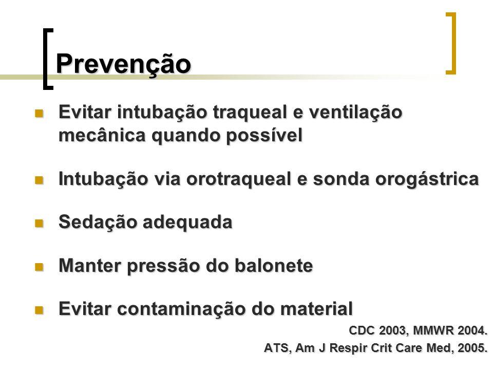 Prevenção Evitar intubação traqueal e ventilação mecânica quando possível. Intubação via orotraqueal e sonda orogástrica.