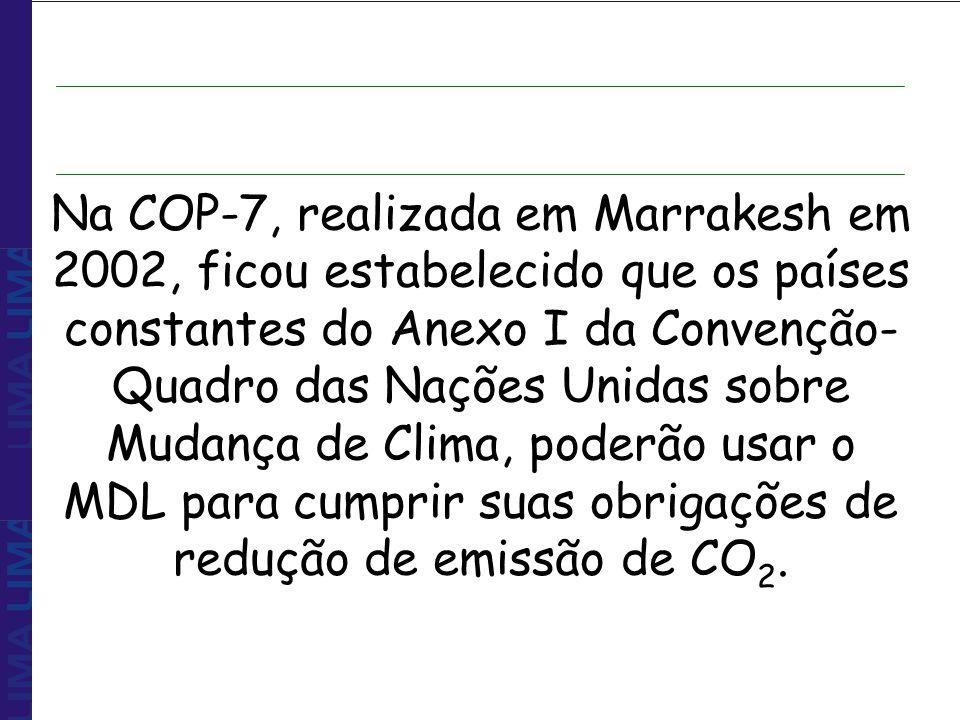 Na COP-7, realizada em Marrakesh em 2002, ficou estabelecido que os países constantes do Anexo I da Convenção-Quadro das Nações Unidas sobre Mudança de Clima, poderão usar o MDL para cumprir suas obrigações de redução de emissão de CO2.