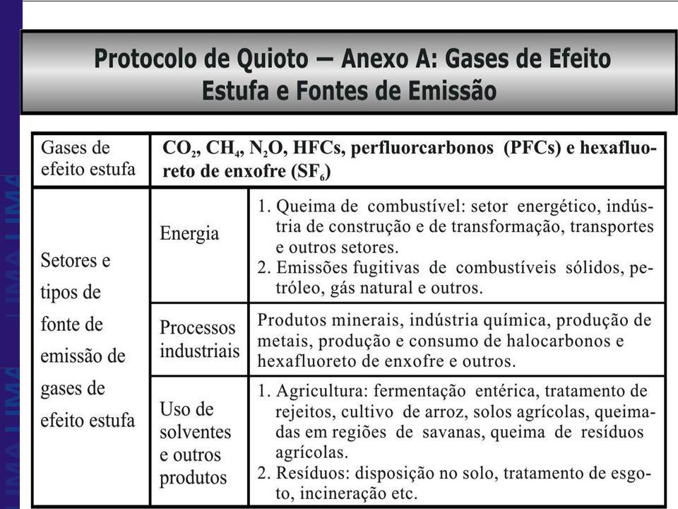Fonte: PNUMA. Protocolo de Quioto, 1992.