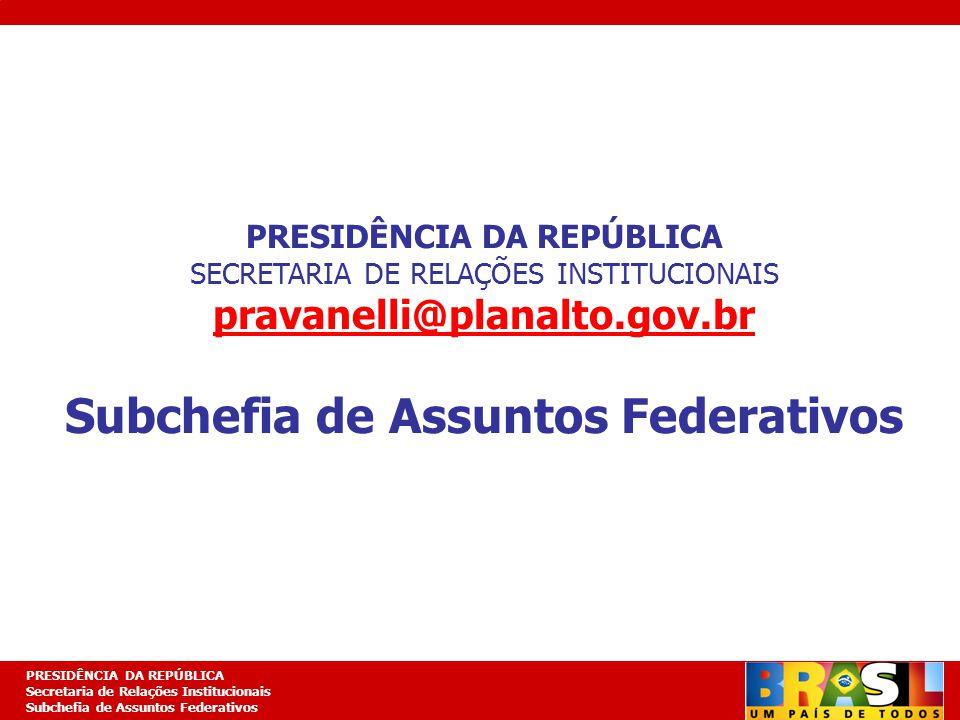 PRESIDÊNCIA DA REPÚBLICA Subchefia de Assuntos Federativos