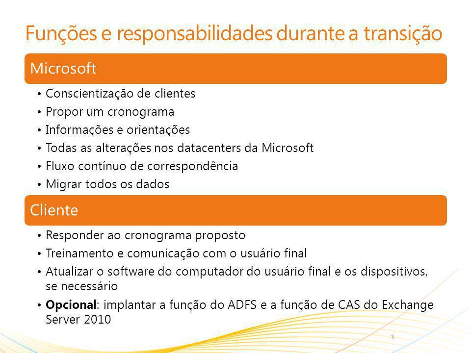 Funções e responsabilidades durante a transição