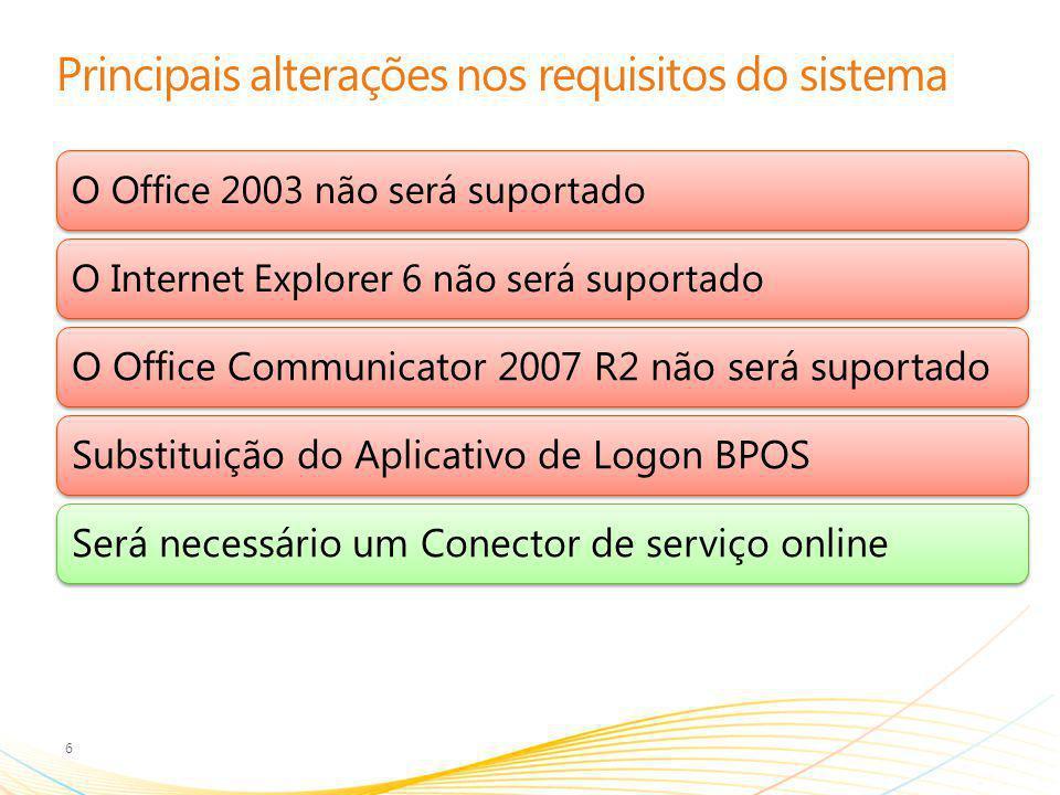Principais alterações nos requisitos do sistema