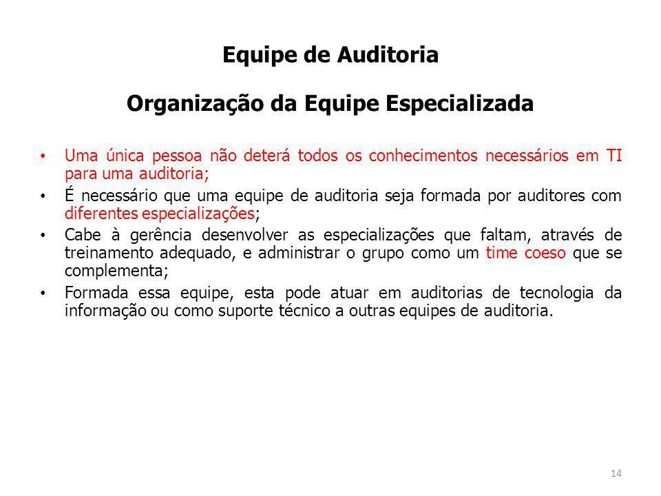 Organização da Equipe Especializada