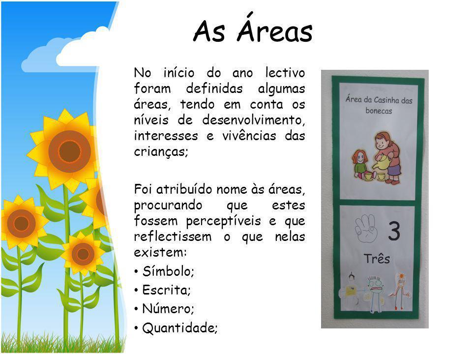 As Áreas No início do ano lectivo foram definidas algumas áreas, tendo em conta os níveis de desenvolvimento, interesses e vivências das crianças;